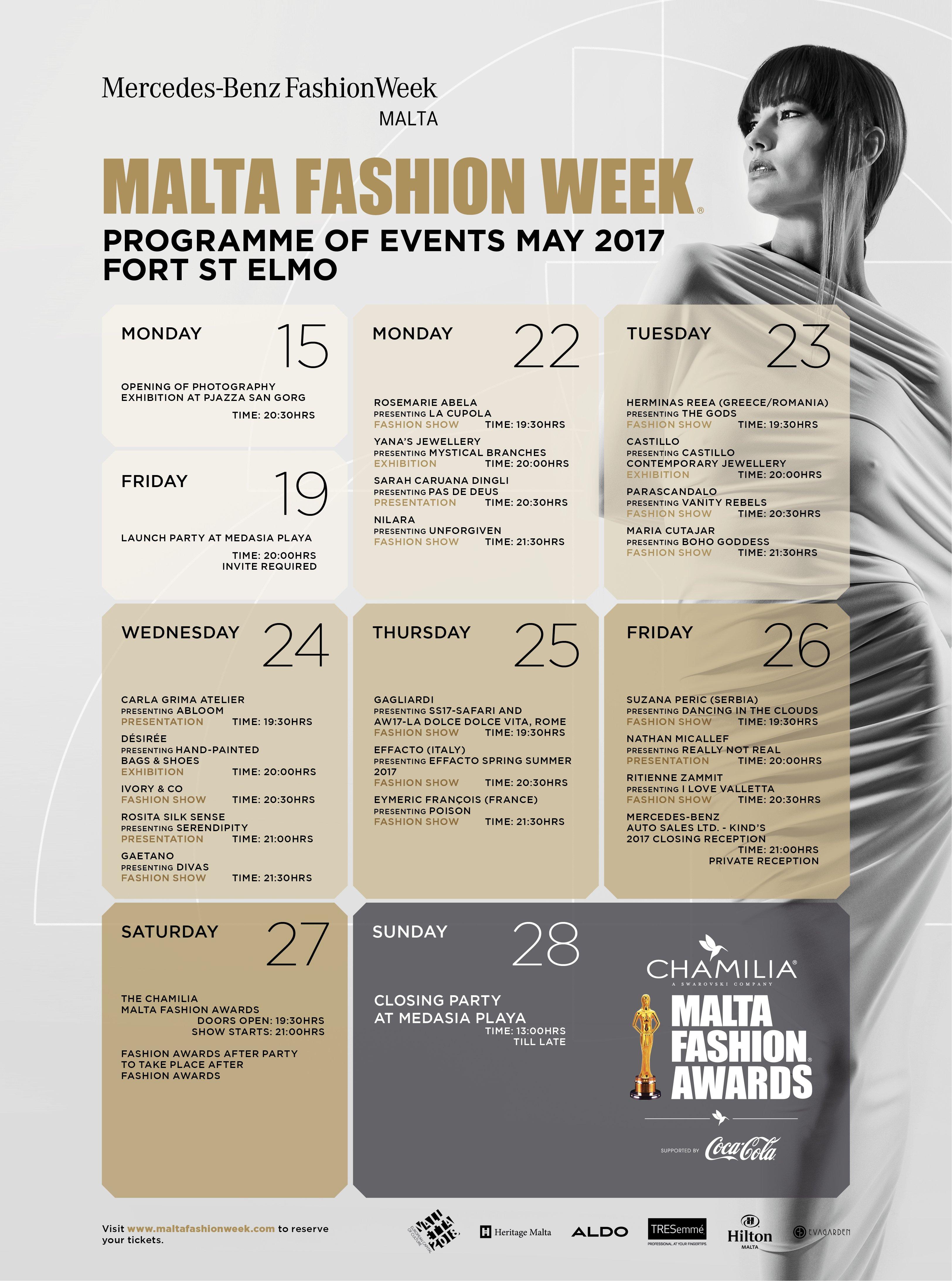 Malta Fashion Week 2017 programme